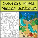 Pages de coloration : Marine Animals Bain mignon de deux petit narvals illustration de vecteur