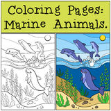Pages de coloration : Marine Animals Groupe de dauphins mignons Illustration Stock