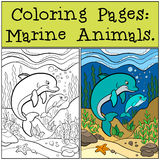 Pages de coloration : Marine Animals Le dauphin de mère nage avec le bébé illustration libre de droits