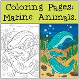 Pages de coloration : Marine Animals Narvals de mère, de père et de bébé illustration libre de droits