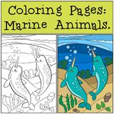 Pages de coloration : Marine Animals ONU mignon de bain de deux le petit narvals illustration de vecteur