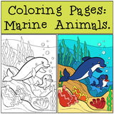 Pages de coloration : Marine Animals Pages de coloration de mère : Marine Animals illustration de vecteur