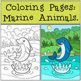 Pages de coloration : Marine Animals Petit dauphin mignon Image libre de droits