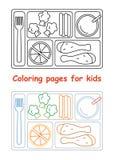Pages de coloration pour des enfants avec le plateau de déjeuner illustration stock