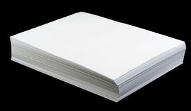 Pages de papier blanches sur le noir Photos stock