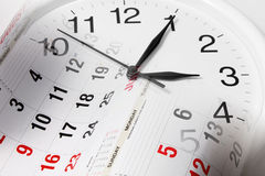 Pages et horloge de calendrier Photographie stock
