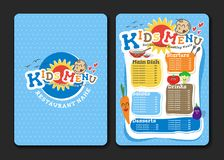2 pages Kids menu design with vegetable for restaurant Royalty Free Stock Images