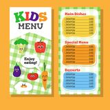 2 pages Kids menu design with vegetable for restaurant Stock Images