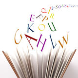 Pages, letters and vowels Stock Images