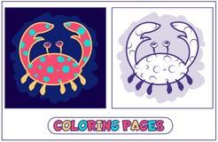 Pages mignonnes de coloration de crabe Photo libre de droits