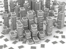 Pages paper stacks 3d isometry. Many stacks of paper page, huge paperwork concept Stock Images