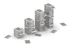 Pages paper stacks 3d isometry. Several stacks of paper pages as graph on white background Royalty Free Stock Image