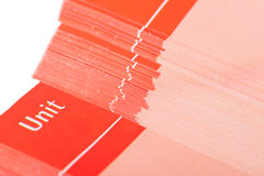 Pages of red school book with space for unit`s number Royalty Free Stock Images