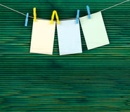 A pages on the rope with clothespins Stock Images