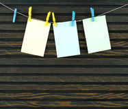 A pages on the rope with clothespins Royalty Free Stock Photos