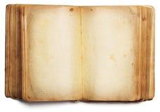 Pages vides ouvertes de vieux livre, papier vide d'isolement sur le blanc Photographie stock