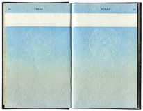 Pages for visa marks in the British passport Stock Image