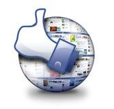 Pages Web sociaux avec la main pareille Photographie stock