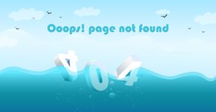 404 Page Not Found Sink in the sea stock illustration