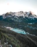 Paget Peak gives amazing views of Wapta Lake. And Yoho and Banff National Parks royalty free stock image