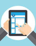 Pageview Social Networks on the tablet Stock Photo