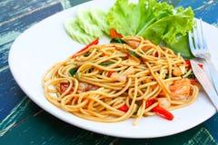 Paghetti mit Meeresfrüchten Lizenzfreies Stockbild