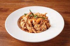 Paghetti with shrimp. Royalty Free Stock Photo