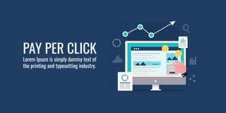 Paghi per clic, la vendita di ricerca, la pubblicità on line, la promozione pagata di media, il ppc, la campagna di adword, conce royalty illustrazione gratis