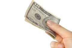 Paghi U S 10 dollari di fattura Immagini Stock