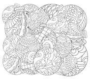 Pagina adulta di coloritura dell'ornamento dell'albero di Natale Pagina di coloritura di vettore con l'ornamento dell'albero di a Immagine Stock