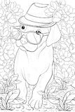 Pagina adulta di coloritura un piccolo cane sveglio con i vetri ed il cappello per rilassarsi Linea Art Style Illustration royalty illustrazione gratis