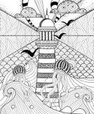 Pagina adulta disegnata a mano di coloritura, artisticamente mare con Lig etnico royalty illustrazione gratis