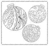 Pagina adulta o teenager di coloritura con l'illustrazione di scarabocchio del nuovo anno o di Natale Immagini Stock Libere da Diritti