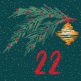 Pagina Advent Calendar 25 dagen van Kerstmis met ruimte voor tekst Stock Afbeelding