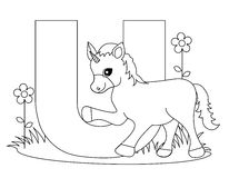 Pagina animale di coloritura di alfabeto U Fotografie Stock