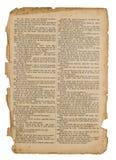 Pagina antica del libro isolata su bianco fotografia stock