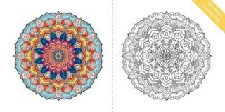 Pagina Antistress Mandala First di coloritura royalty illustrazione gratis