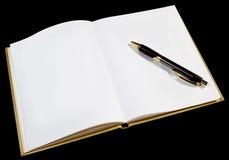Pagina in bianco in albo di oro aperto fotografie stock