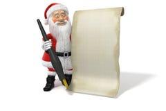Pagina in bianco della lista del Babbo Natale del fumetto Fotografie Stock Libere da Diritti