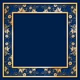 Pagina blu con i fiori dorati Fotografia Stock