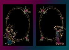 Pagina, cartolina Ragazze d'annata in cappelli con gli ombrelli La struttura ovale oro Vettore royalty illustrazione gratis