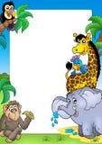 Pagina con gli animali africani felici Fotografia Stock