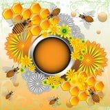 Pagina con gli api ed i fiori Fotografia Stock Libera da Diritti