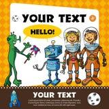 Pagina con gli bambino-astronauti e lo straniero Immagini Stock Libere da Diritti