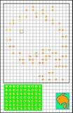 Pagina con gli esercizi per i bambini piccoli su una carta quadrata - debba unire i numeri e dipingere l'immagine royalty illustrazione gratis