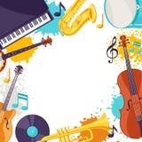 Pagina con gli strumenti musicali Fondo di festival di musica di jazz illustrazione vettoriale