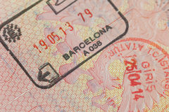 Pagina con i bolli del confine - turismo del passaporto Fotografia Stock