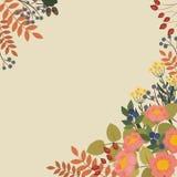 Pagina con i fiori e le bacche di fioritura Fotografia Stock