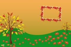Pagina con i fiori e le farfalle illustrazione di stock