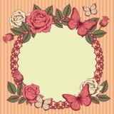 Pagina con i fiori e le farfalle Fotografia Stock